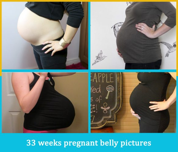 33 weeks pregnant belly pictures
